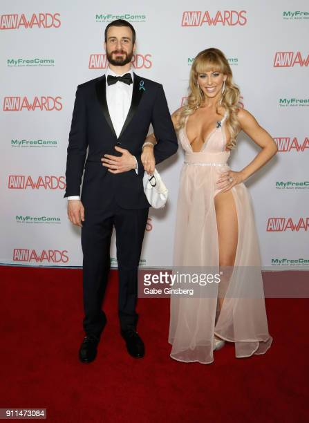 Adam Porris and adult film actress Cherie DeVille attend the 2018 Adult Video News Awards at the Hard Rock Hotel Casino on January 27 2018 in Las...