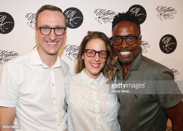 Adam Porter Smith Jessie Mueller and Billy Porter pose at the Native Ken Eyewear NYC Launch Party at Native Ken on July 20 2017 in New York City
