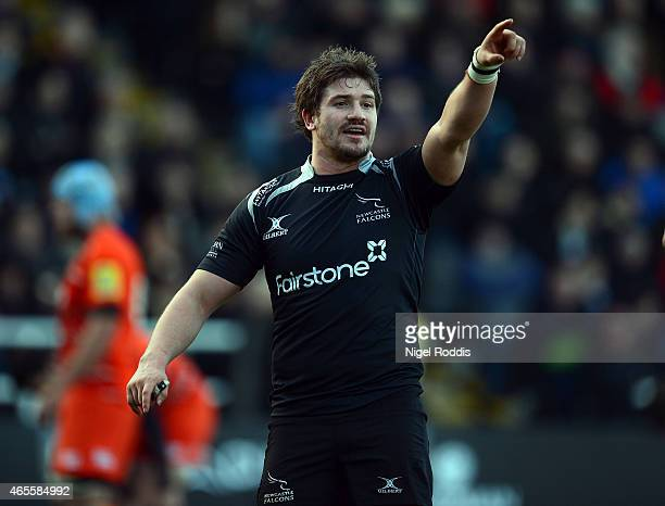 Adam Powell of Newcastle Falcons reacts during the Aviva Premiership match between Newcastle Falcons and Leicester Tigers at Kingston Park on March 8...