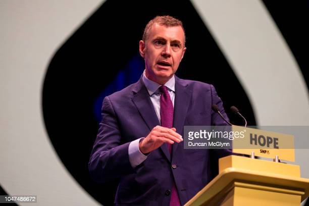 Adam Price leader of Plaid Cymru makes his keynote speech at the 84th annual SNP conference at the Scottish Exhibition and Conference Centre at SECC...
