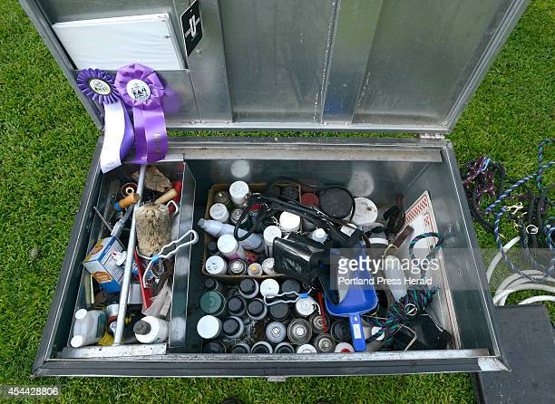 Adam Pride's show box full of equipment used in grooming cows at his small farm in Limington