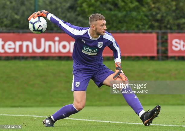 Adam Pryzbek of West Bromwich Albion in action during the Liverpool U18 v West Bromwich Albion U18 game at The Kirkby Academy on August 25 2018 in...