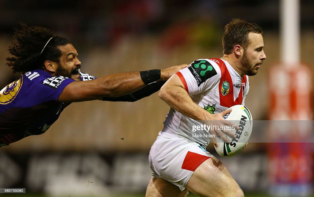 Adam Quinlan of the Dragons makes a line break during the round 22 NRL match between the St George Illawarra Dragons and the Brisbane Bronocs at WIN Stadium on August 4, 2016 in Wollongong, Australia.