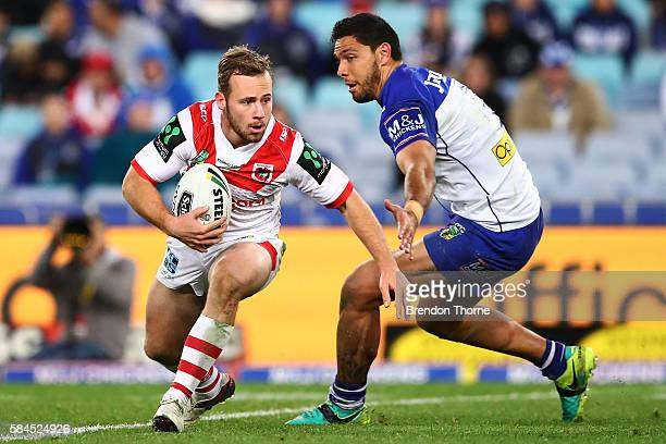 Adam Quinlan of the Dragons runs the ball during the round 21 NRL match between the Canterbury Bulldogs and the St George Illawarra Dragons at ANZ...