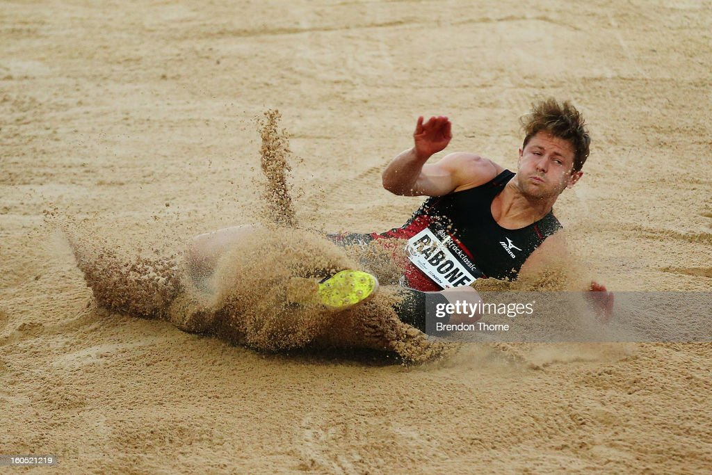 Adam Rabone of VIC competes in the Men's Long Jump during the Hunter Track Classic on February 2, 2013 in Newcastle, Australia.