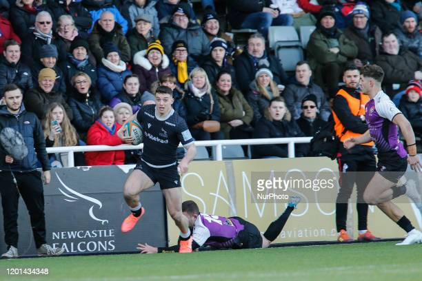 Adam Radwan of Newcastle Falcons evades a tackle on the touchline during the Greene King IPA Championship match between Newcastle Falcons and Cornish...