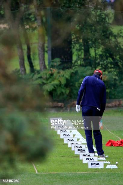 Adam Rainaud of the United States PGA Cup Team on the practice ground during the Singles Matches on Day 3 of the 28th PGA Cup Matches played at...