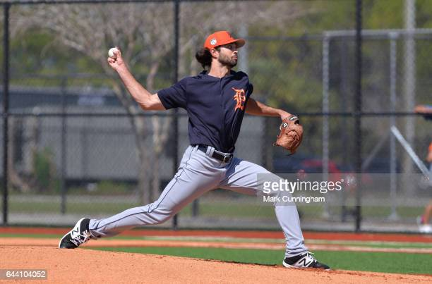 Adam Ravenelle of the Detroit Tigers pitches during Spring Training workouts at the TigerTown facility on February 20 2017 in Lakeland Florida