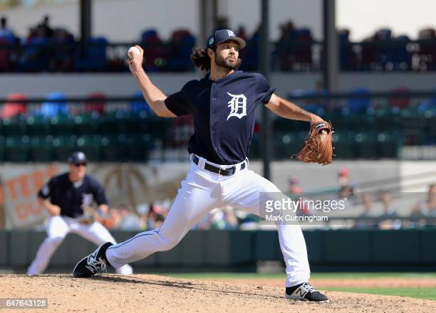 Adam Ravenelle of the Detroit Tigers pitches during the Spring Training game against the Florida Southern Mocs at Publix Field at Joker Marchant...