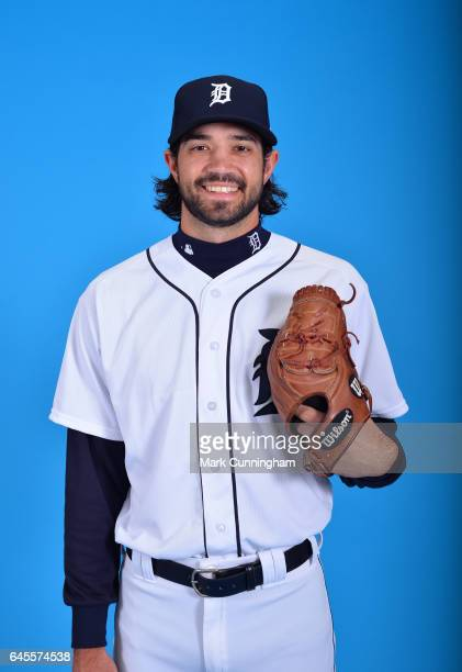 Adam Ravenelle of the Detroit Tigers poses for a portrait during Photo Day on Sunday February 19 2017 at Publix Field at Joker Marchant Stadium in...