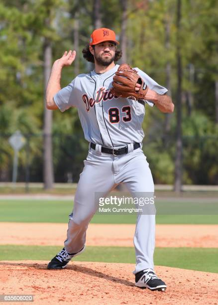 Adam Ravenelle of the Detroit Tigers works on a pitching drill during Spring Training workouts at the TigerTown complex on February 15 2017 in...