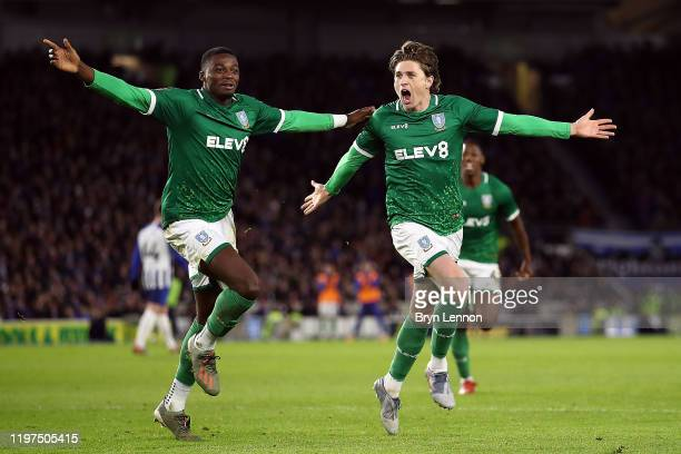 Adam Reach of Sheffield Wednesday celebrates after scoring his team's first goal with teammate Dominic Iorfa during the FA Cup Third Round match...