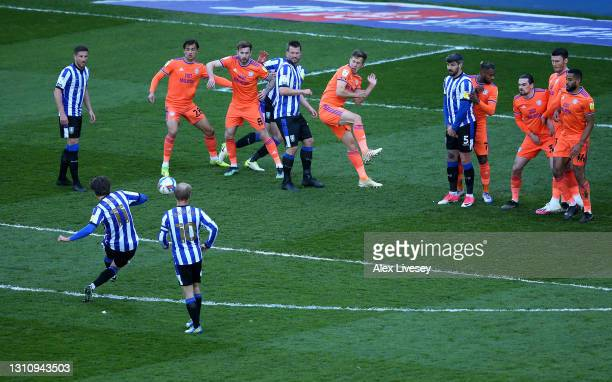 Adam Reach of Sheffield Wednesday scores their side's third goal from a free kick during the Sky Bet Championship match between Sheffield Wednesday...