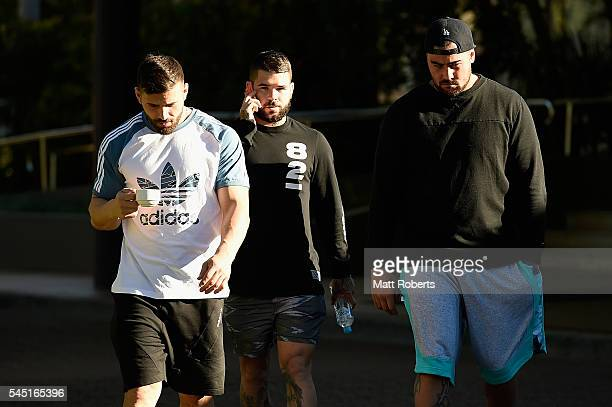 Adam Reynolds of the Blues walks with Josh Mansour and Andrew Fifita during the New South Wales Blues State of Origin training session on July 6 2016...