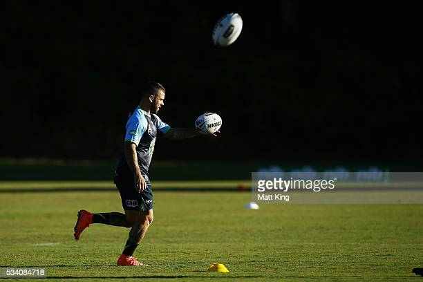 Adam Reynolds of the Blues warms up during a New South Wales Blues State of Origin training session on May 25 2016 in Coffs Harbour Australia