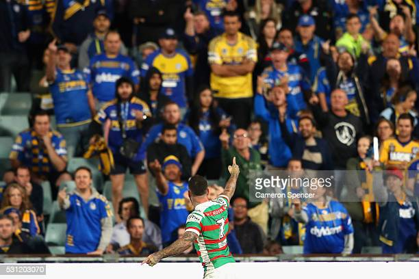 Adam Reynolds of the Rabbitohs celebrates after kicking the winning conversion during the round 10 NRL match between the Parramatta Eels and the...