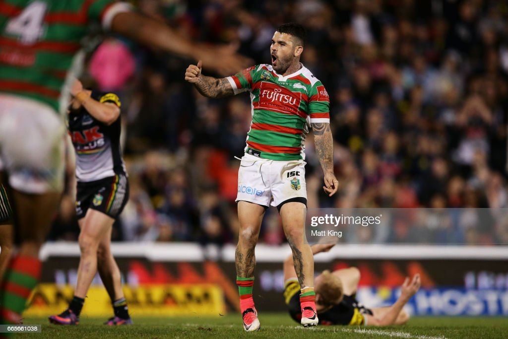 Adam Reynolds of the Rabbitohs celebrates kicking the winning field goal during the round six NRL match between the Penrith Panthers and the South Sydney Rabbitohs at Pepper Stadium on April 7, 2017 in Sydney, Australia.