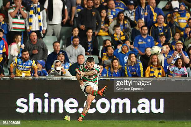 Adam Reynolds of the Rabbitohs kicks a conversion during the round 10 NRL match between the Parramatta Eels and the South Sydney Rabbitohs at Pirtek...