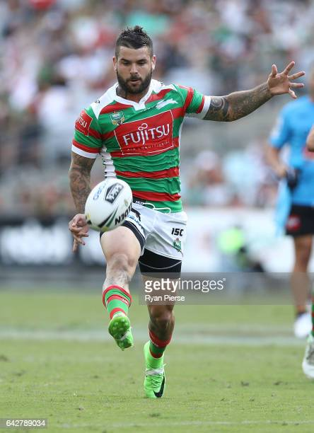Adam Reynolds of the Rabbitohs kicks during the NRL Charity Shield match between the South Sydney Rabbitohs and the St George Illawarra Dragons at...
