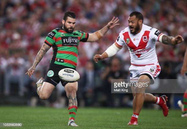 Adam Reynolds of the Rabbitohs kicks during the NRL Semi Final match between the South Sydney Rabbitohs and the St George Illawarra Dragons at ANZ...