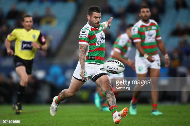 Adam Reynolds of the Rabbitohs kicks during the round 15 NRL match between the Parramatta Eels and the South Sydney Rabbitohs at ANZ Stadium on June...