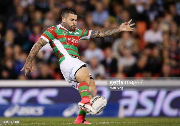 Adam Reynolds of the Rabbitohs kicks during the round six NRL match between the Penrith Panthers and the South Sydney Rabbitohs at Pepper Stadium on...