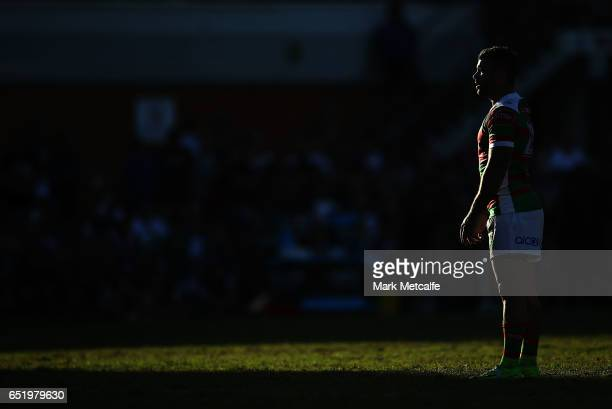 Adam Reynolds of the Rabbitohs lines up a kick during the round two NRL match between the Manly Sea Eagles and the South Sydney Rabbitohs at...