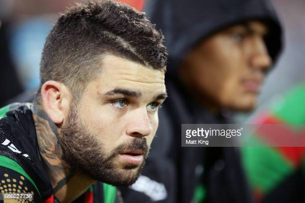 Adam Reynolds of the Rabbitohs looks on from the bench during the round 11 NRL match between the South Sydney Rabbitohs and the Melbourne Storm at...