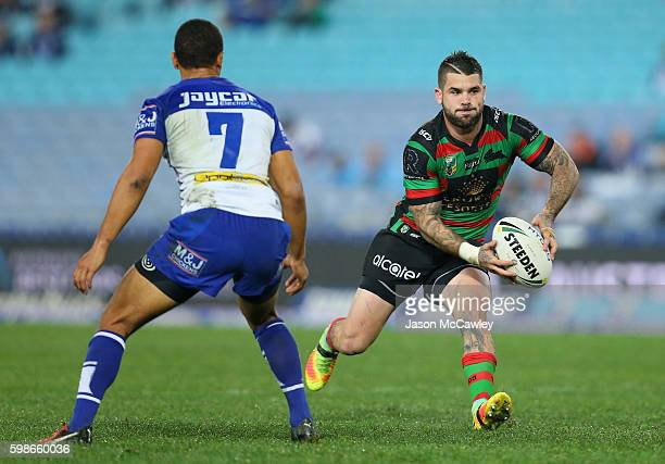 Adam Reynolds of the Rabbitohs looks to pass during the round 26 NRL match between the Canterbury Bulldogs and the South Sydney Rabbitohs at ANZ...
