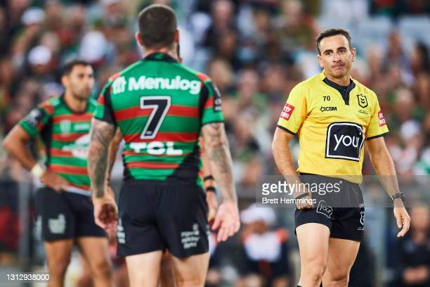 Adam Reynolds of the Rabbitohs speaks with Referee Gerard Sutton during the round six NRL match between the South Sydney Rabbitohs and the Wests...