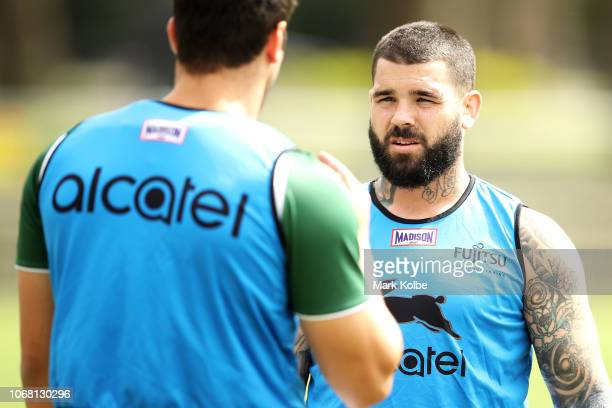 Adam Reynolds speaks to a team mate during a Sydney Rabbitohs training session at Redfern Oval at Redfern Oval on December 4 2018 in Sydney Australia