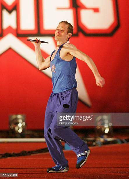 Adam Rickitt of the men's team takes part in the javelin event at the live final of the fourth series of reality TV show The Games at the Don Valley...