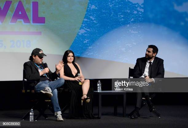 Adam Rifkin Ariel Winter and artistic director of the Palm Springs International Film Festival Michael Lerman speak at the 29th Annual Palm Springs...