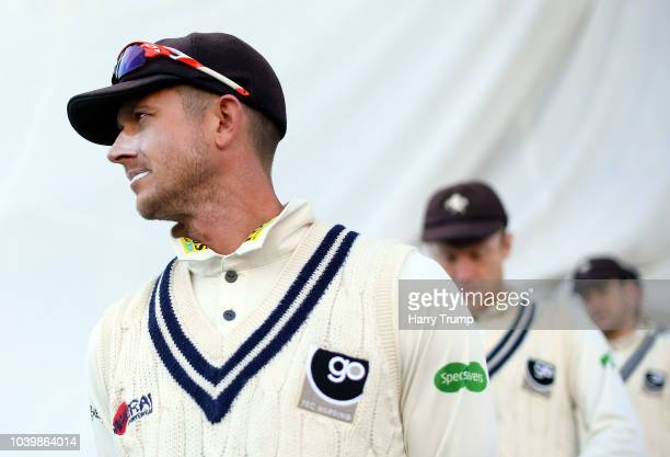Adam Riley of Kent celebrates the wicket of Tim Ambrose of Warwickshire during Day Two of the Specsavers County Championship Division Two match...