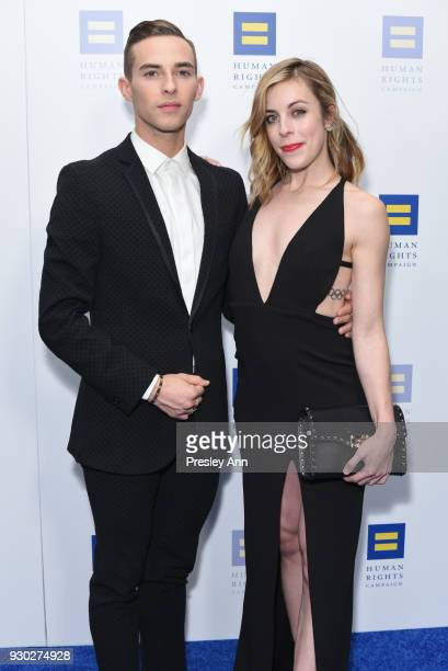 Adam Rippon and Ashley Wagner attend Human Rights Campaign's 2018 Los Angeles Gala Dinner Arrivals at JW Marriott Los Angeles at LA LIVE on March 10...