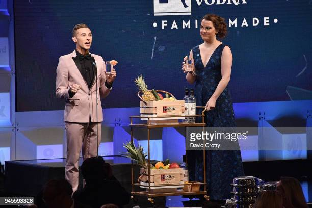 Adam Rippon and Guest attend the 29th Annual GLAAD Media Awards - Arrivals at The Beverly Hilton Hotel on April 12, 2018 in Beverly Hills, California.