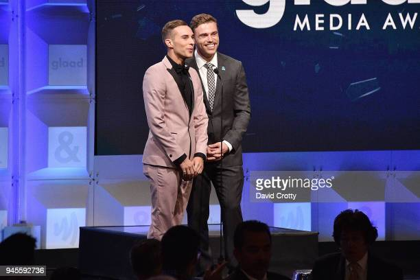 Adam Rippon and Gus Kenworthy attend the 29th Annual GLAAD Media Awards - Arrivals at The Beverly Hilton Hotel on April 12, 2018 in Beverly Hills,...