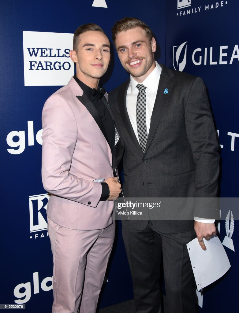 Adam Rippon (L) and Gus Kenworthy pose backstage at the 29th Annual GLAAD Media Awards at The Beverly Hilton Hotel on April 12, 2018 in Beverly Hills, California.