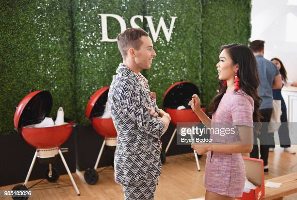 Adam Rippon and HoangKim Cung attend DSW Block Party hosted by Olympians Adam Rippon and Mirai Nagasu on June 27 2018 at Ramscale Studio in New York...