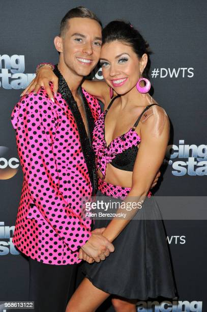 Adam Rippon and Jenna Johnson attend ABC's 'Dancing With The Stars Athletes' Season 26 semifinal show on May 14 2018 in Los Angeles California