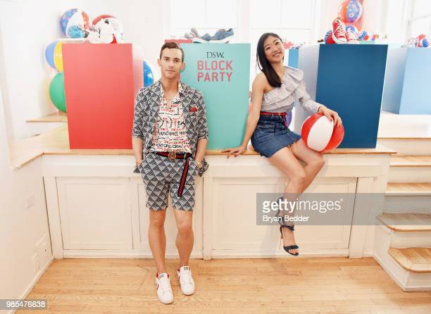 Adam Rippon and Mirai Nagasu attend DSW Block Party hosted by Olympians Adam Rippon and Mirai Nagasu on June 27 2018 at Ramscale Studio in New York...