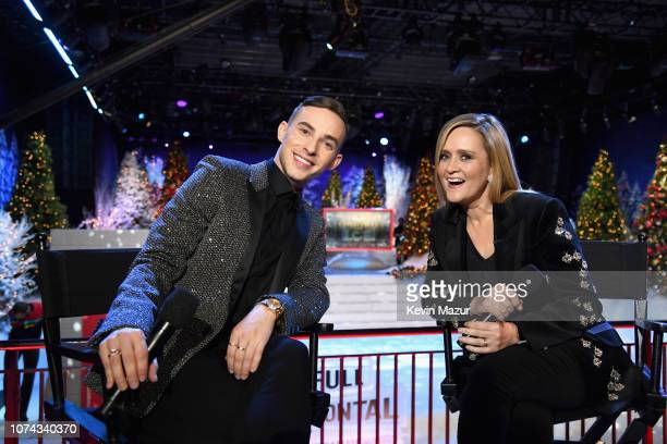 Adam Rippon and Samantha Bee pose during Full Frontal With Samantha Bee Presents Christmas On I.C.E. At PlayStation Theater on December 17, 2018 in...