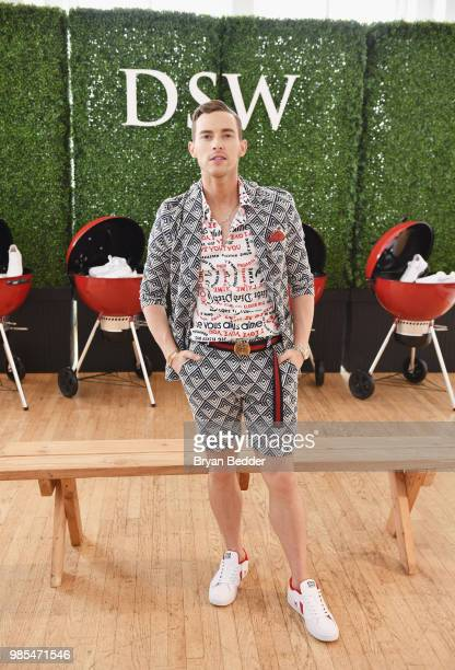 Adam Rippon attends DSW Block Party hosted by Olympians Adam Rippon and Mirai Nagasu on June 27 2018 at Ramscale Studio in New York City