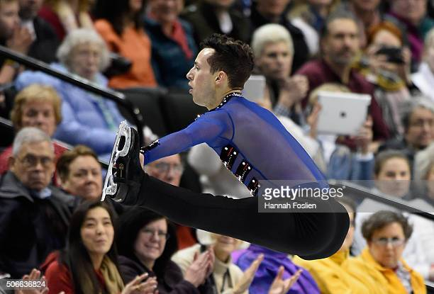 Adam Rippon competes in the Men's Free Skate at the 2016 Prudential US Figure Skating Championship on January 24 2016 at Xcel Energy Center in St...