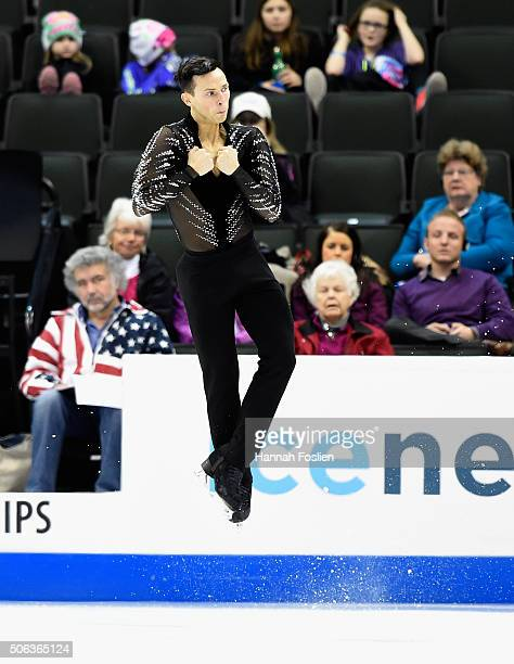 Adam Rippon competes in the Men's Short Program at the 2016 Prudential US Figure Skating Championship on January 22 2016 at Xcel Energy Center in St...