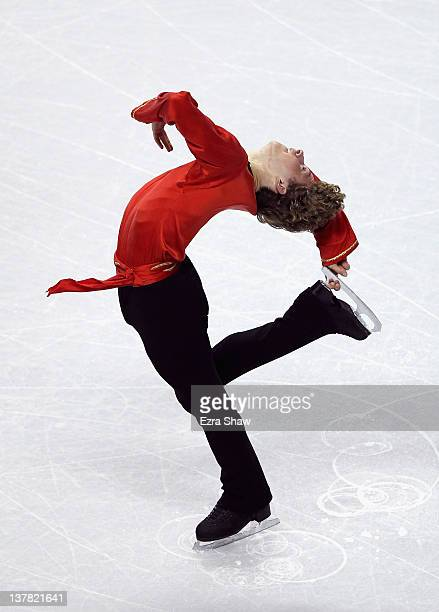 Adam Rippon competes in the men's short program during the 2012 U.S. Figure Skating Championships at HP Pavilion on January 27, 2012 in San Jose,...
