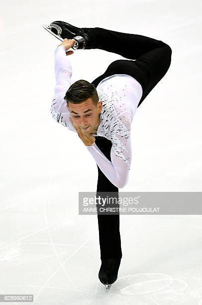 US Adam Rippon competes in the senior Men Free program at the ISU Grand Prix of figure skating Final on December 10 2016 in Marseille southern France...