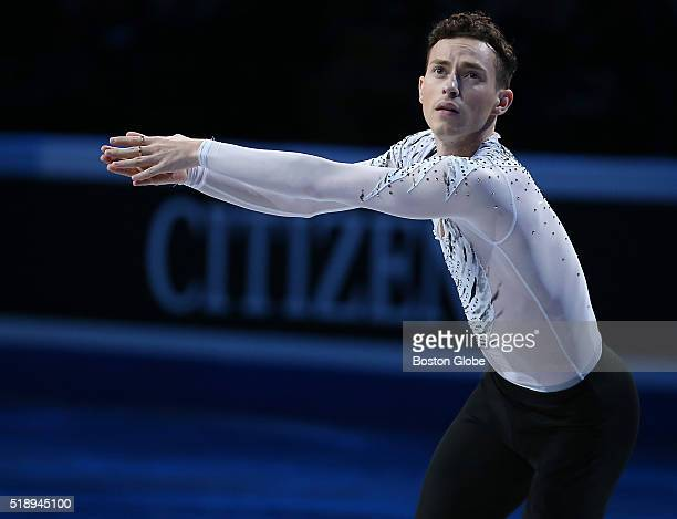 Adam Rippon from the United States performs during the Exhibition of Champions at the World Figure Skating Championships at TD Garden in Boston on...