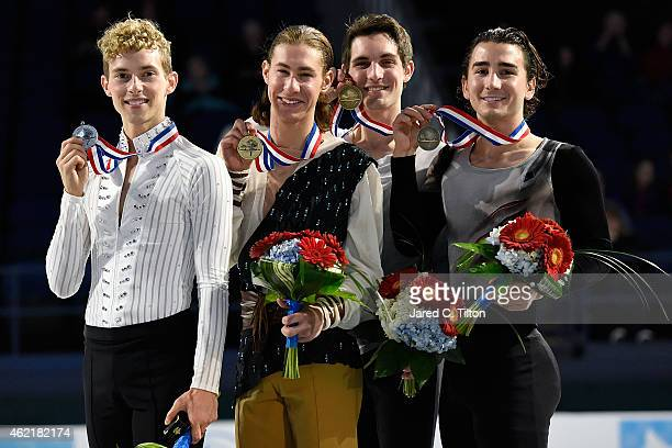 Adam Rippon Jason Brown Joshua Farris and Max Aaron pose with their medals after the Championship Men's Free Skate Program Competition during day 4...