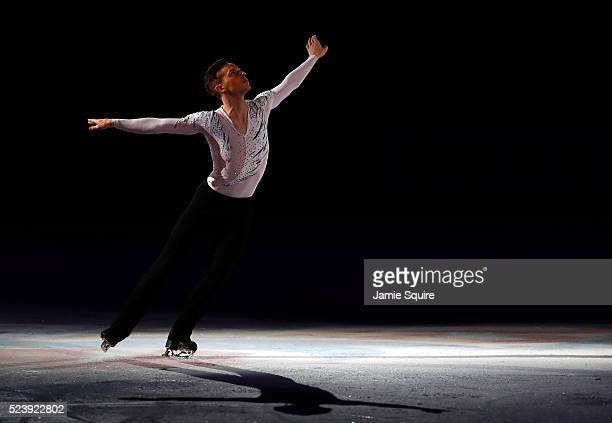 Adam Rippon of Team North America performs during an exhibition on day 3 of the 2016 KOSE Team Challenge Cup at Spokane Arena on April 24 2016 in...